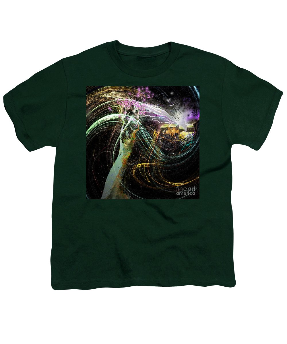 Fantasy Youth T-Shirt featuring the painting At The End Of The Cosmos by Miki De Goodaboom