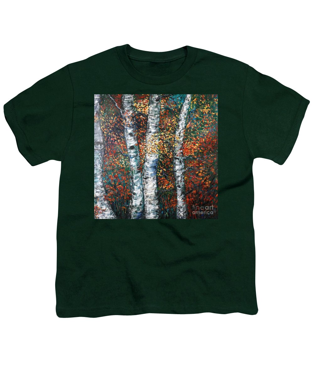 Birch Youth T-Shirt featuring the painting Autumn Birch by Nadine Rippelmeyer