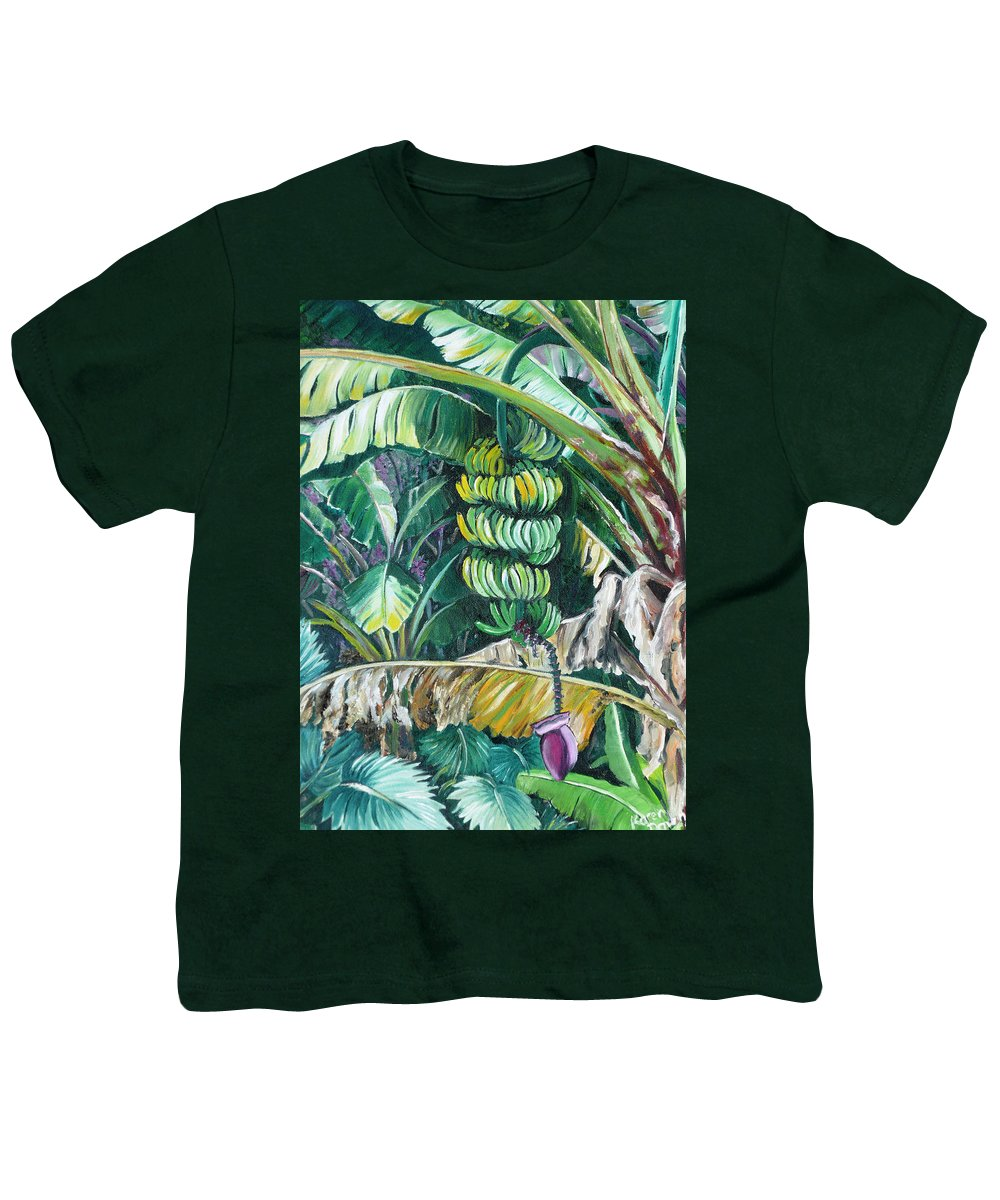Caribbean Painting Bananas Trees P Painting Fruit Painting Tropical Painting Youth T-Shirt featuring the painting Bananas by Karin Dawn Kelshall- Best