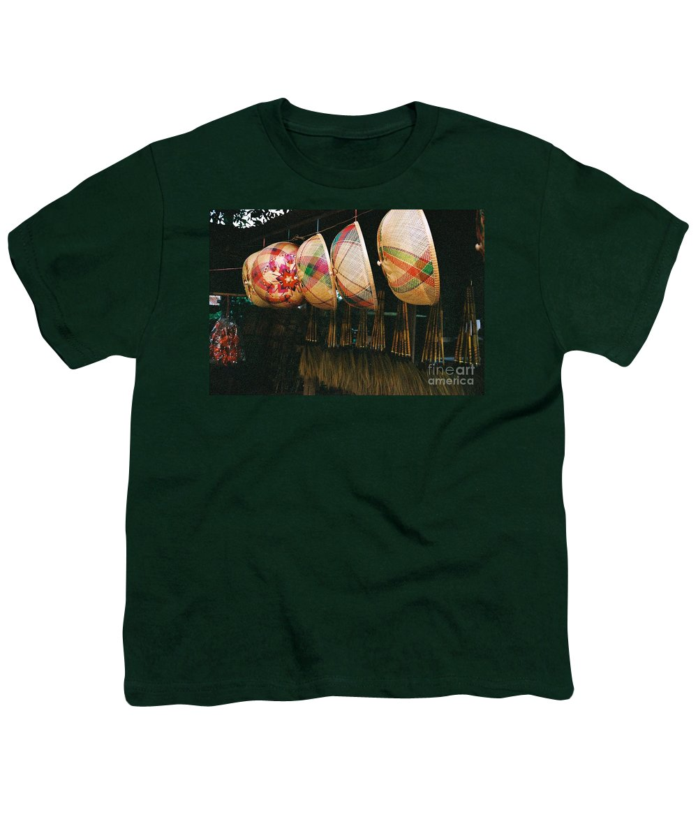 Baskets Youth T-Shirt featuring the photograph Baskets And Brooms by Mary Rogers