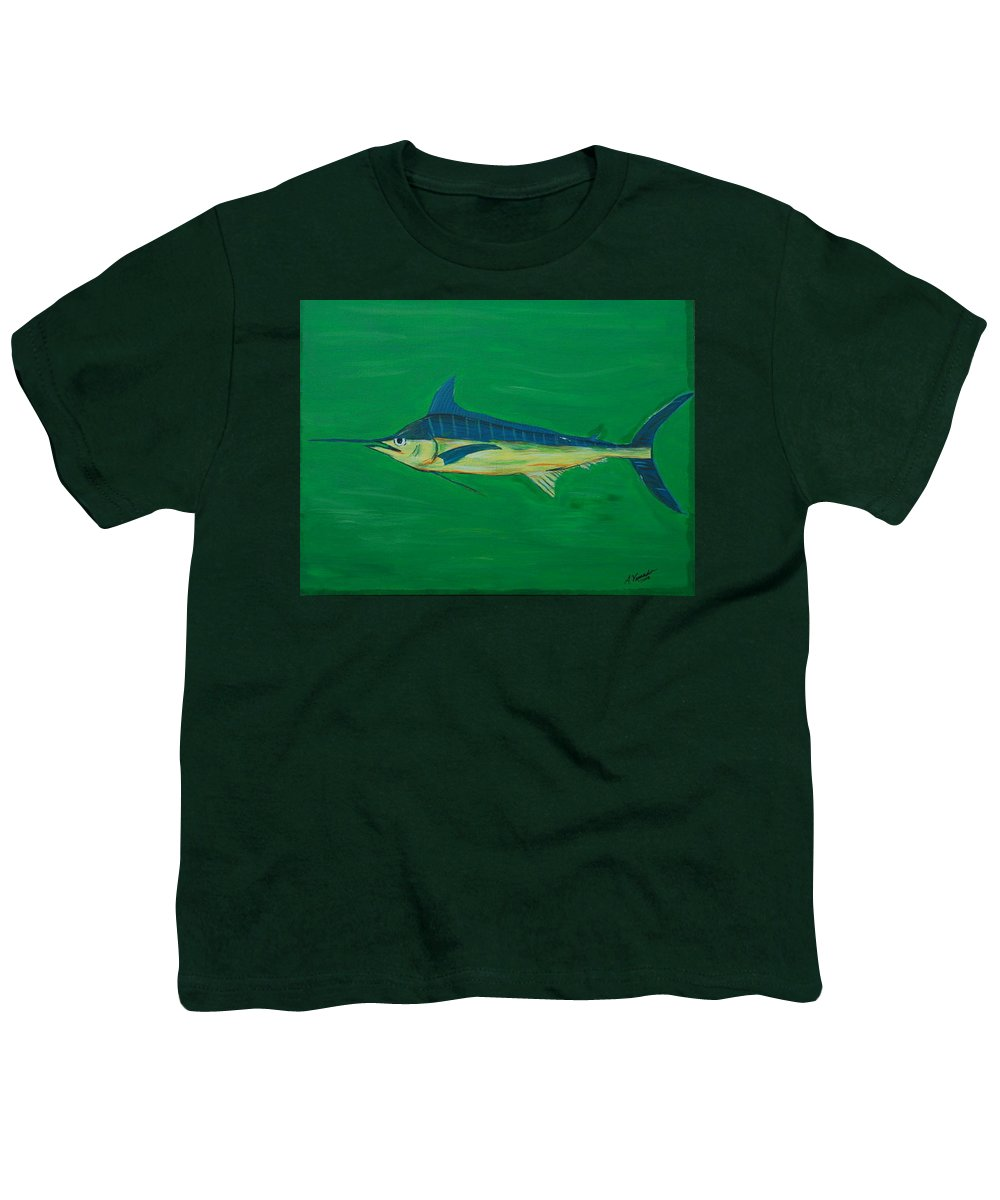 Blue Marlin Youth T-Shirt featuring the painting Big Fish by Angela Miles Varnado
