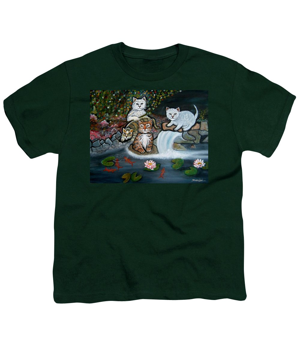 Acrylic Art Landscape Cats Animals Figurative Waterfall Fish Trees Youth T-Shirt featuring the painting Cats In The Wild by Manjiri Kanvinde