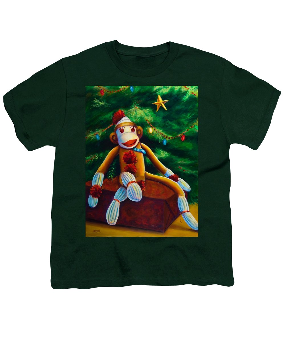 Sock Monkey Youth T-Shirt featuring the painting Christmas Made Of Sockies by Shannon Grissom