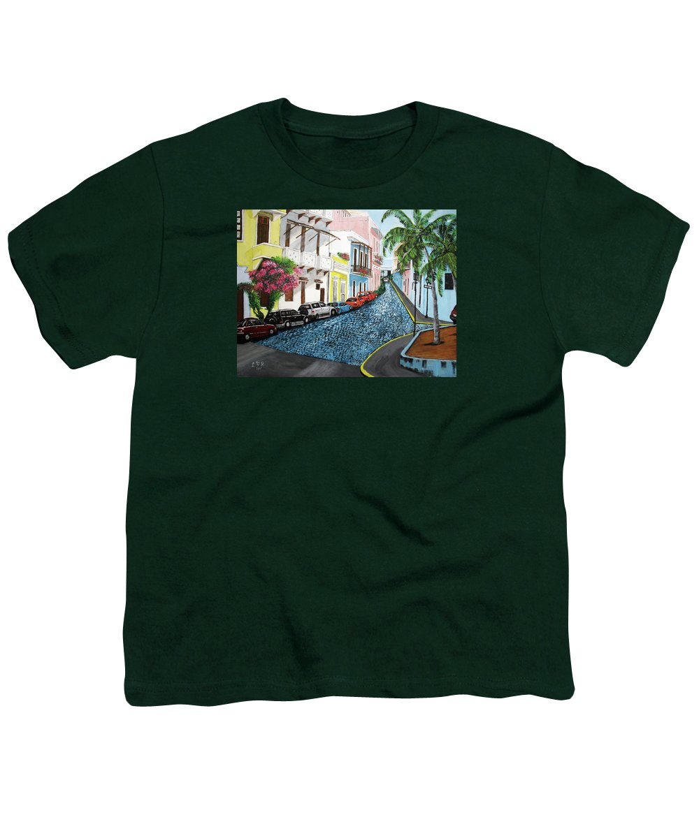 Old San Juan Youth T-Shirt featuring the painting Colorful Old San Juan by Luis F Rodriguez