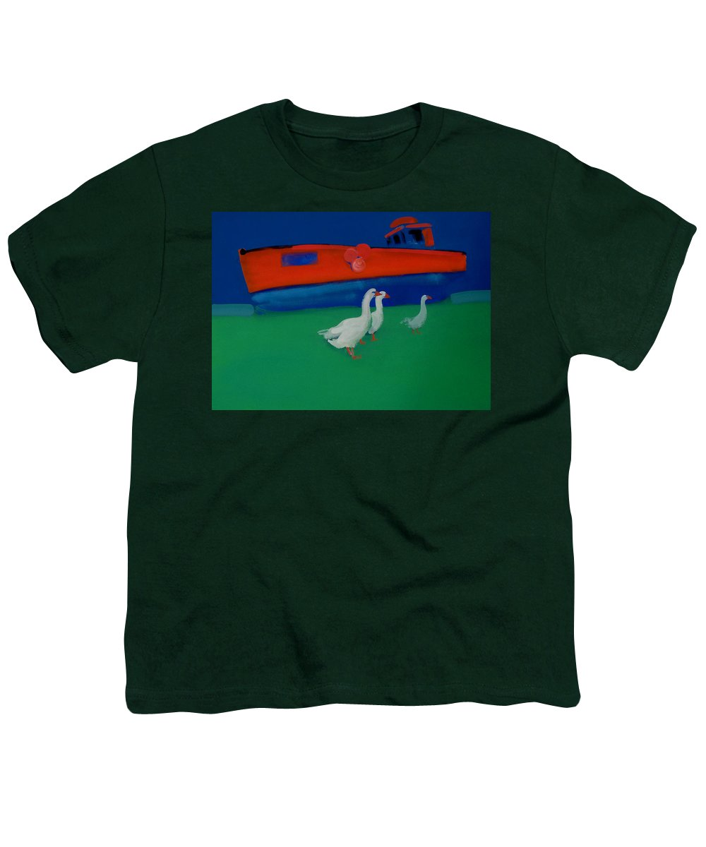 Geese Youth T-Shirt featuring the painting Cool And Dry by Charles Stuart