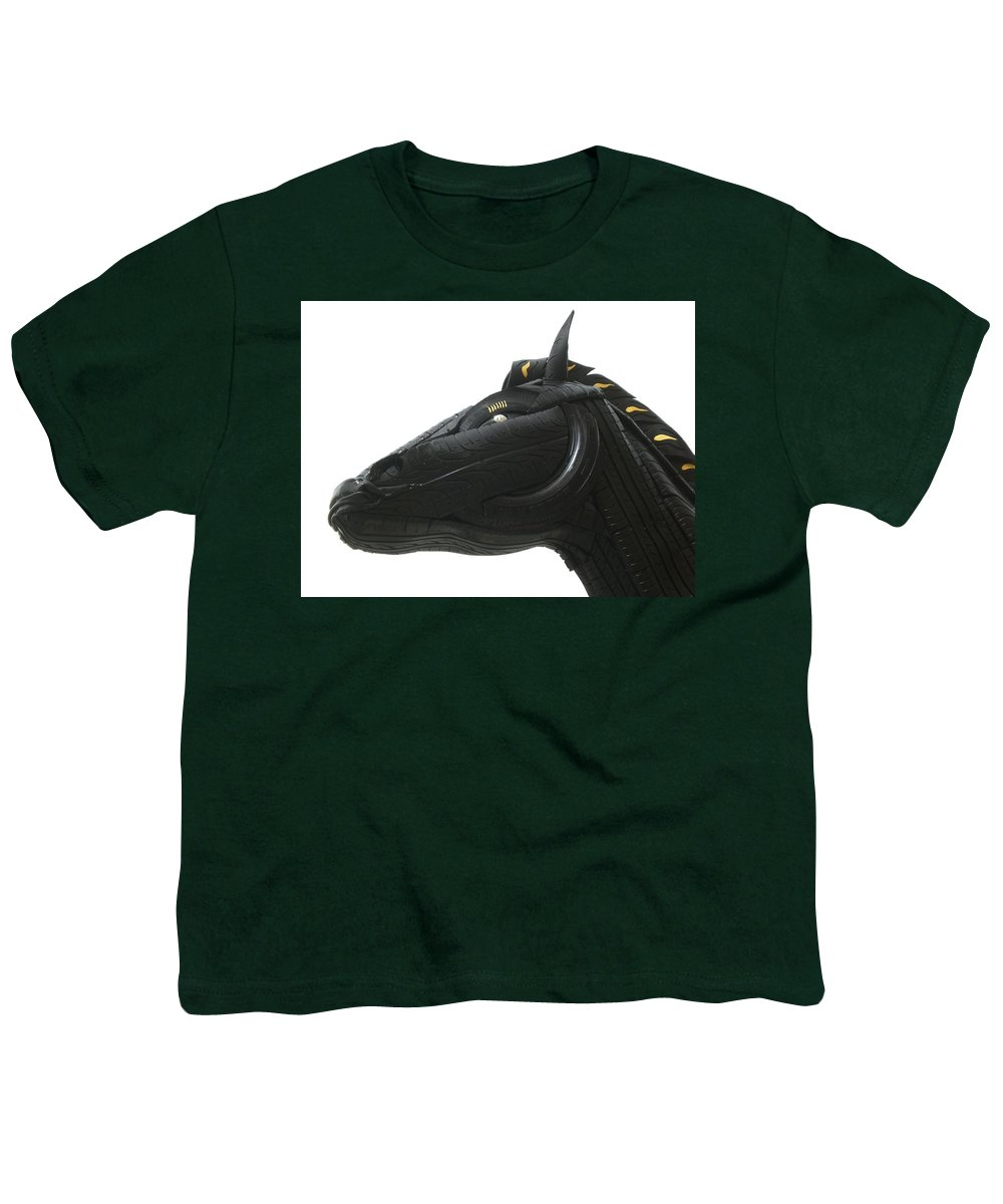 Horse Youth T-Shirt featuring the sculpture Detail - Tire Horse by Mo Siakkou-Flodin
