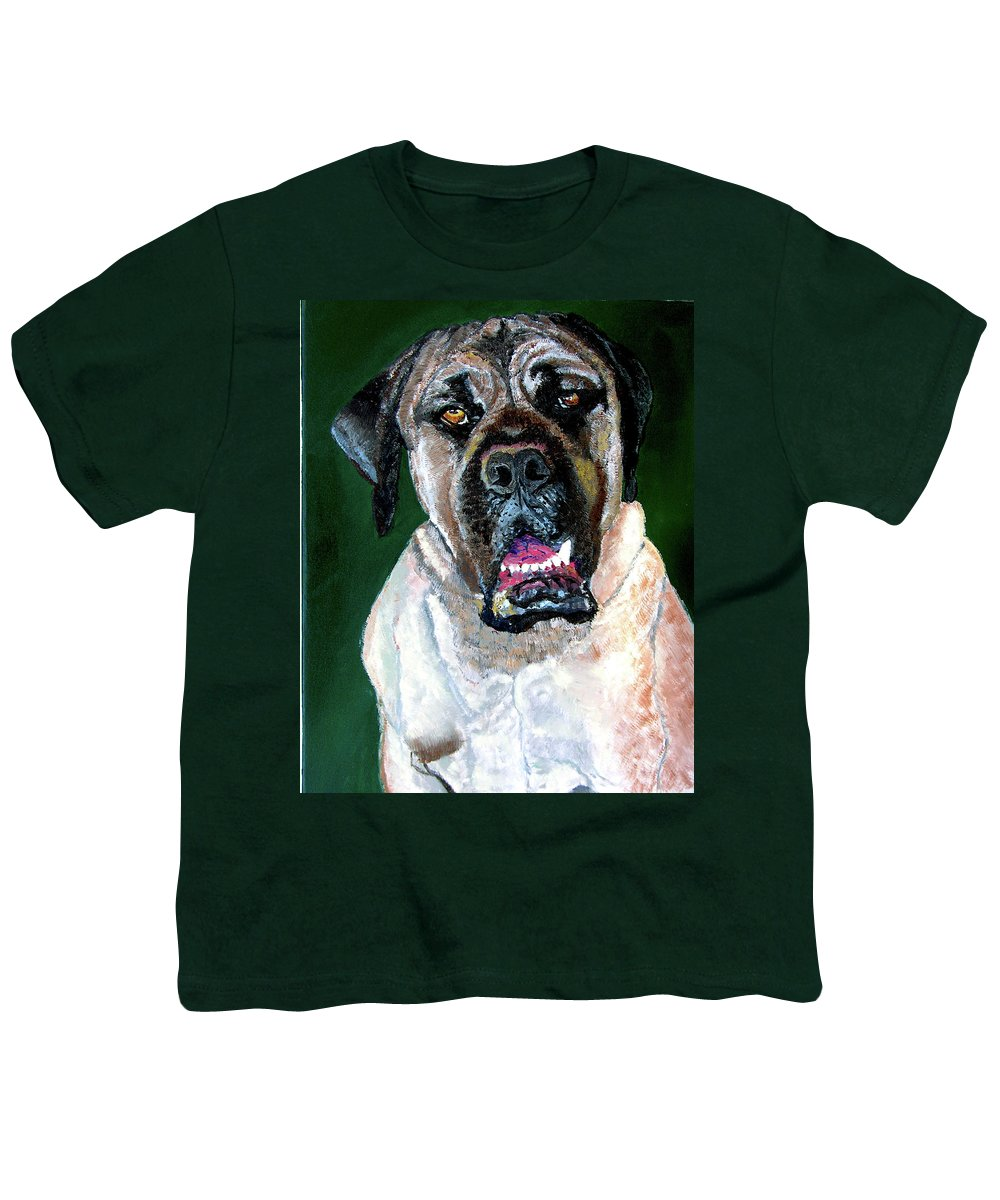 Dog Portrait Youth T-Shirt featuring the painting Ely by Stan Hamilton
