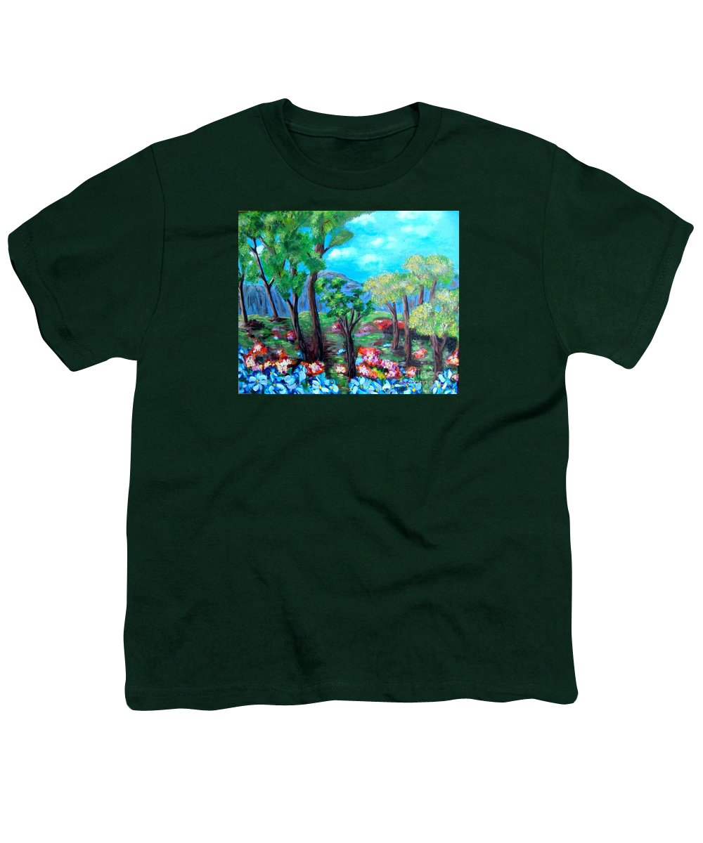 Fantasy Youth T-Shirt featuring the painting Fantasy Forest by Laurie Morgan