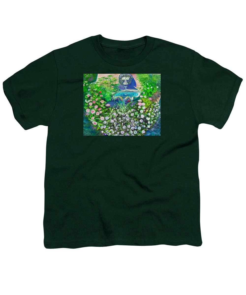 Fountain Youth T-Shirt featuring the painting Fantasy Fountain by Michael Durst