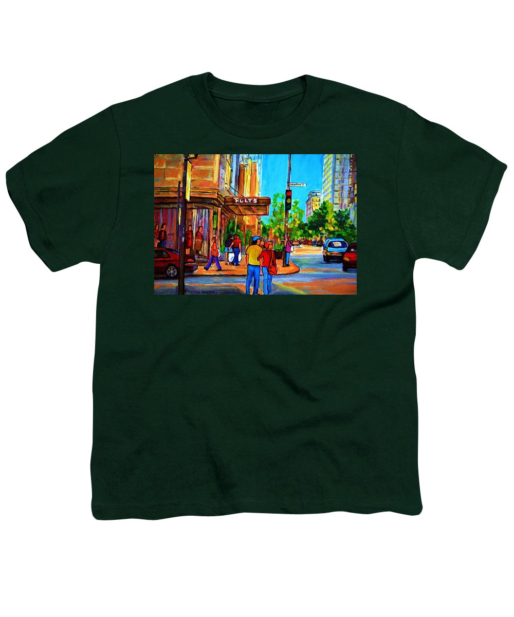 Holt Renfrew Youth T-Shirt featuring the painting Fashionable Holt Renfrew by Carole Spandau