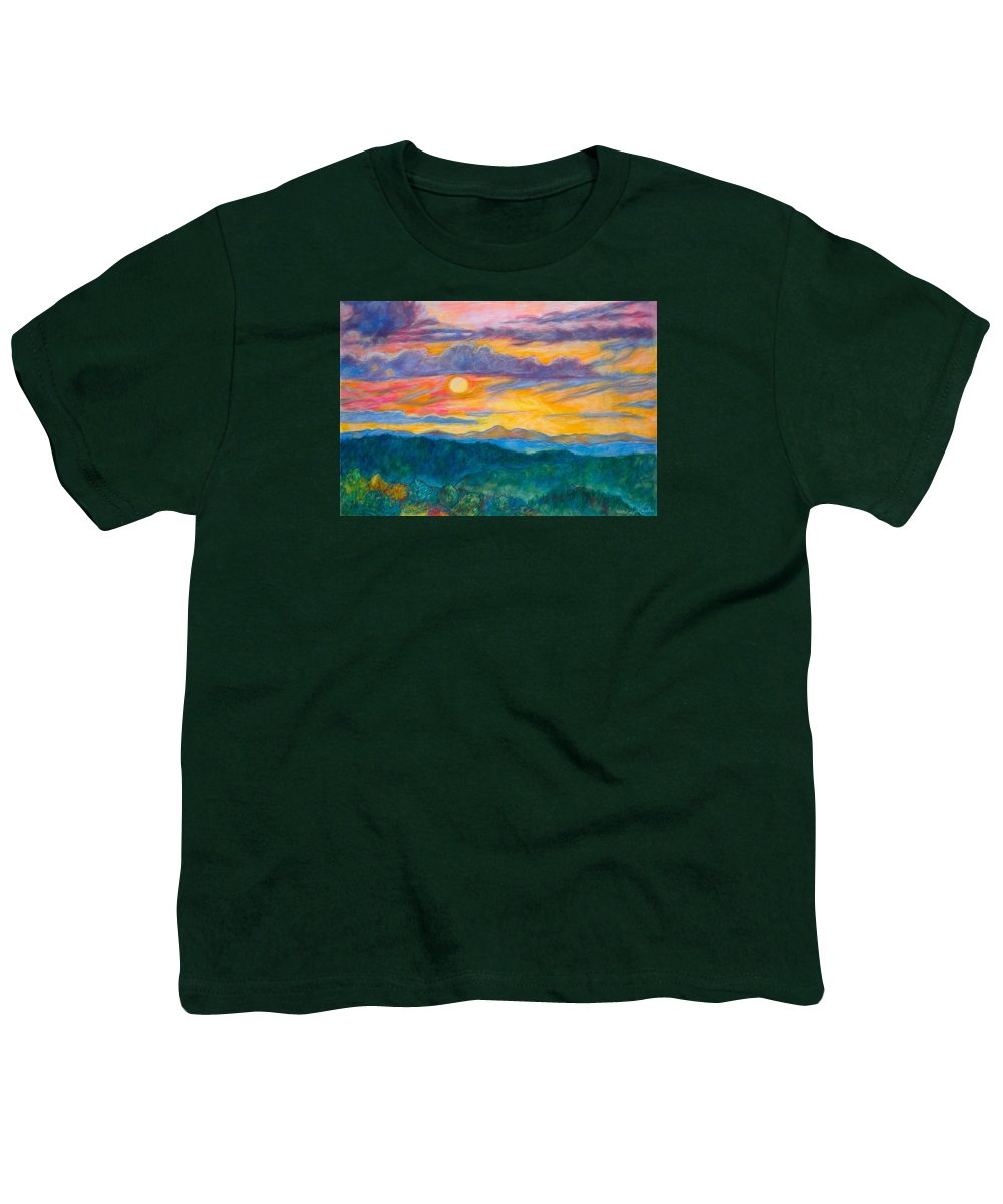 Landscape Youth T-Shirt featuring the painting Golden Blue Ridge Sunset by Kendall Kessler