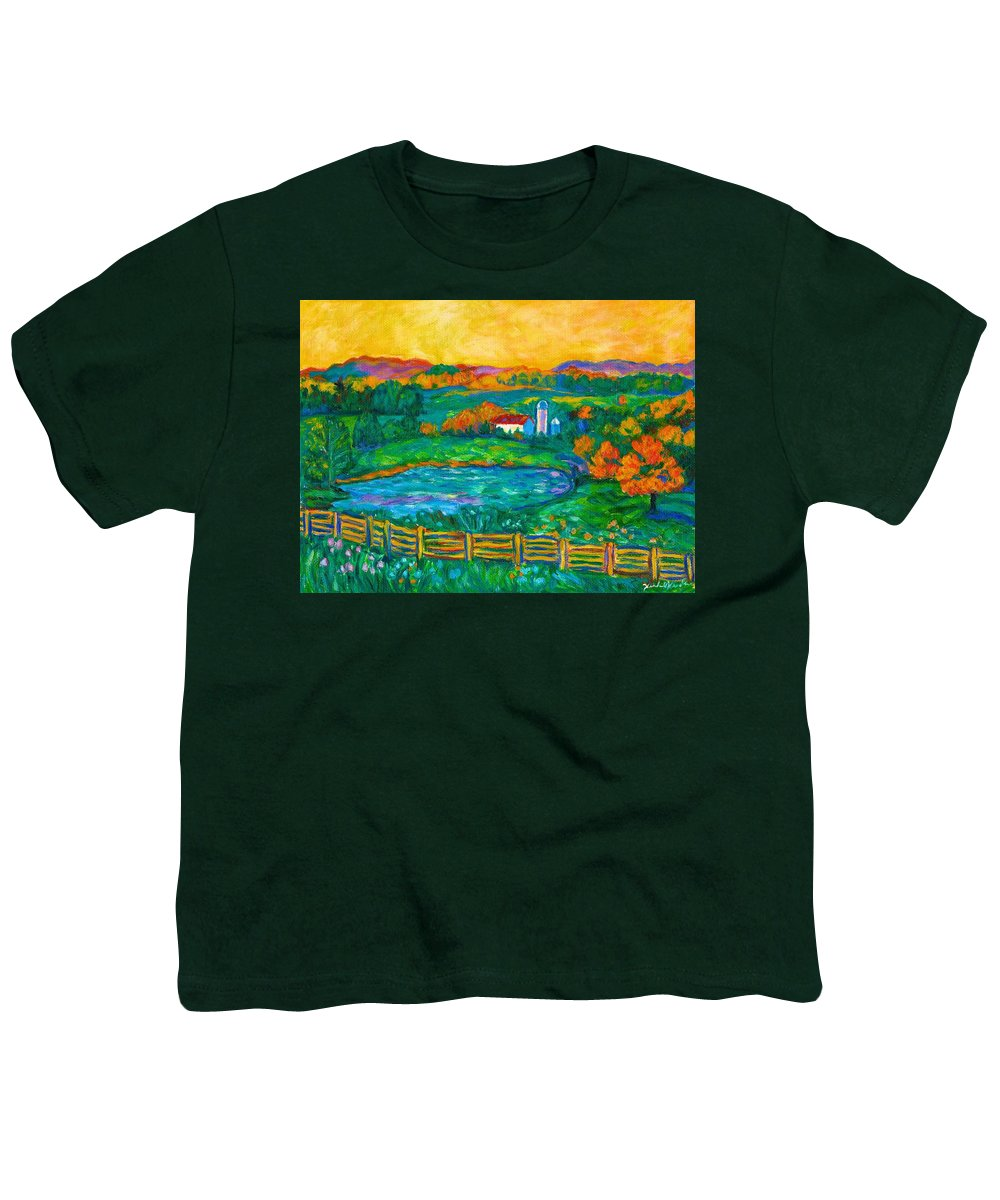 Landscape Youth T-Shirt featuring the painting Golden Farm Scene Sketch by Kendall Kessler