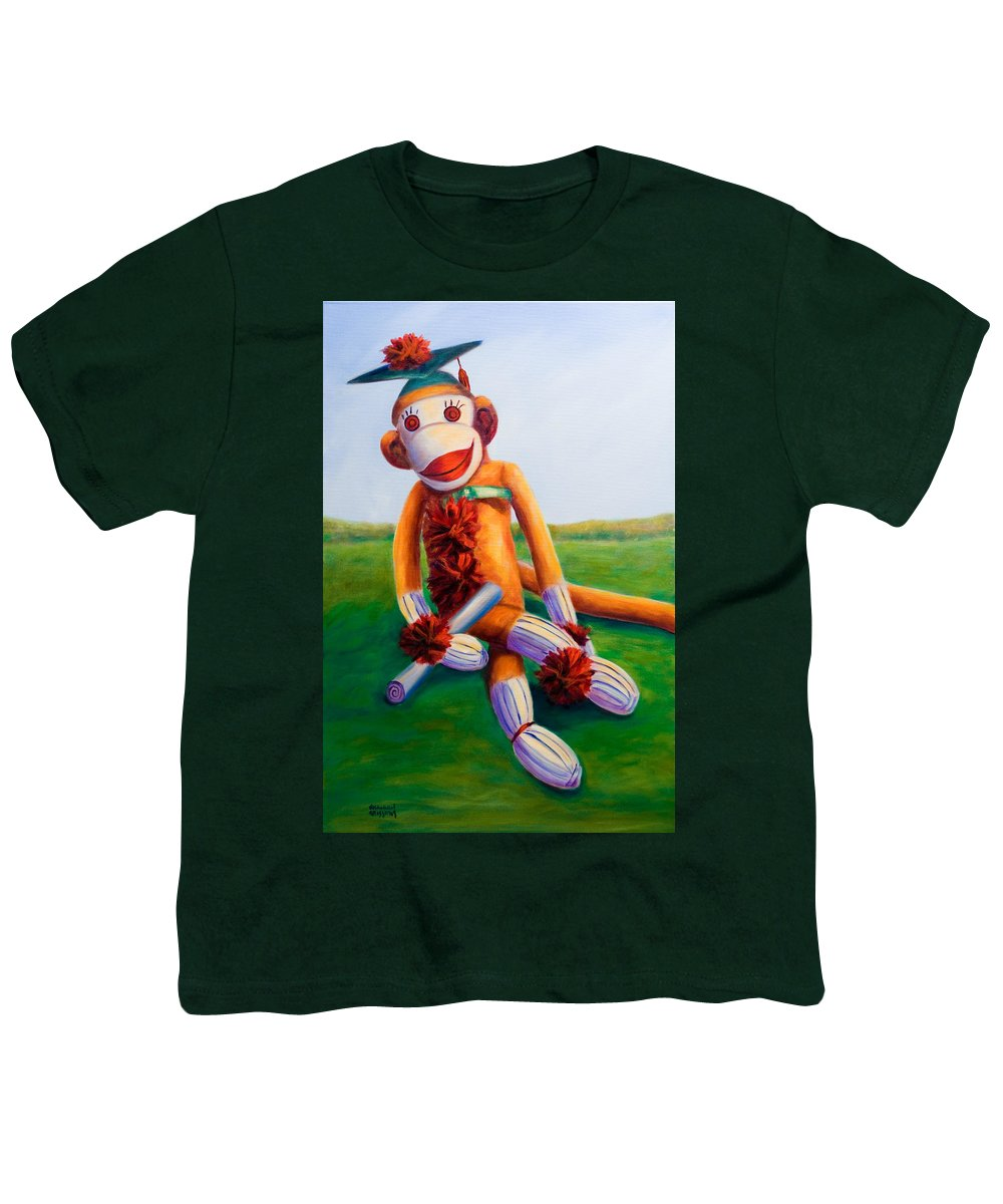 Graduation Youth T-Shirt featuring the painting Graduate Made Of Sockies by Shannon Grissom