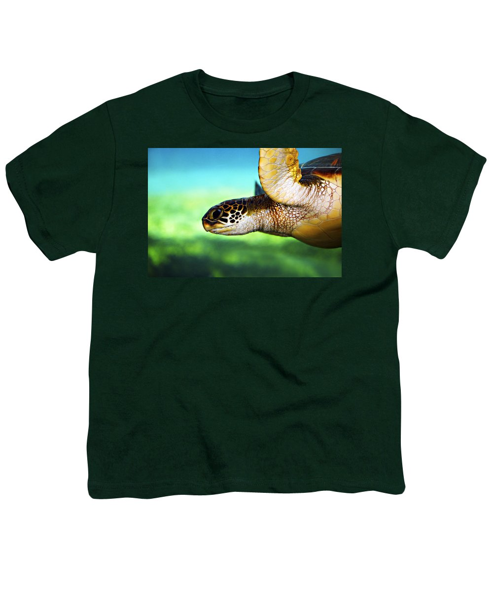 Green Youth T-Shirt featuring the photograph Green Sea Turtle by Marilyn Hunt