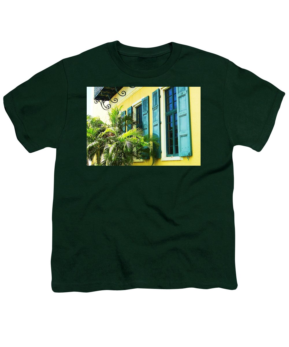 Architecture Youth T-Shirt featuring the photograph Green Shutters by Debbi Granruth