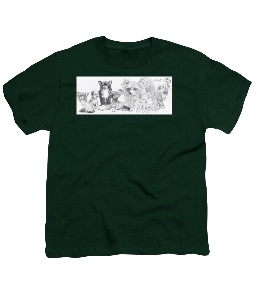 Dog Youth T-Shirt featuring the drawing Growing Up Chinese Crested And Powderpuff by Barbara Keith