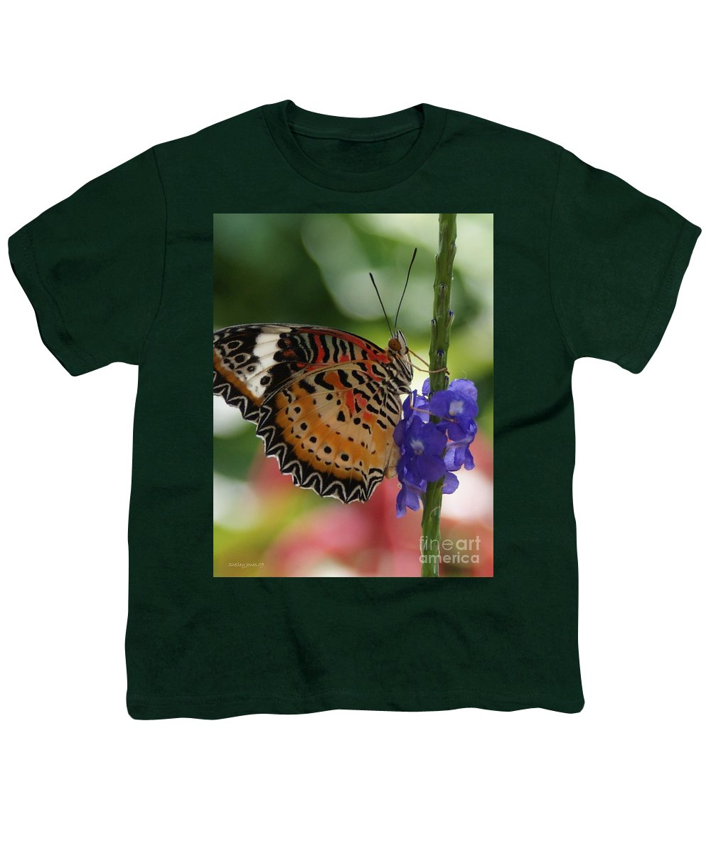 Butterfly Youth T-Shirt featuring the photograph Hanging On by Shelley Jones