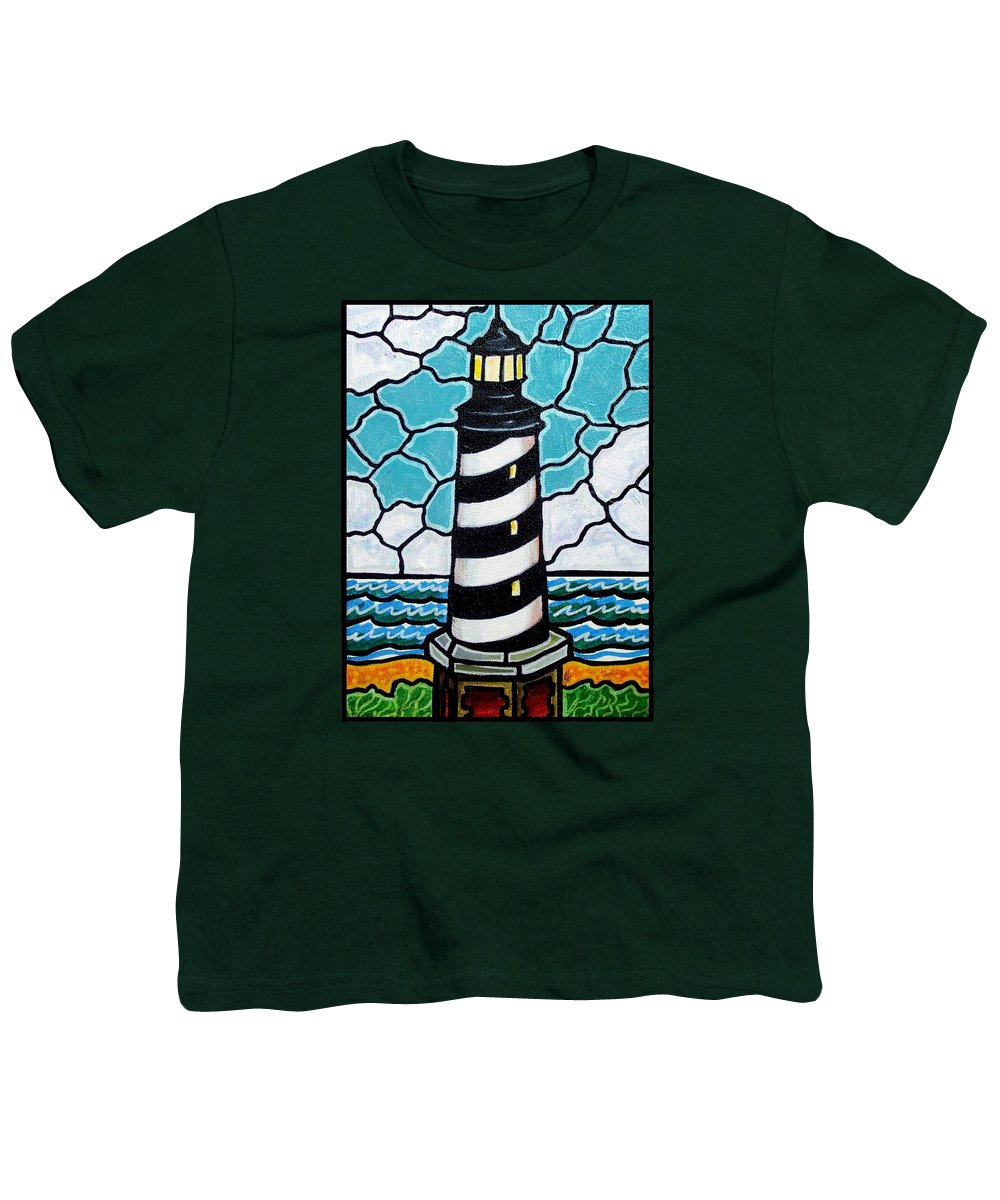 Lighthouse Youth T-Shirt featuring the painting Hatteras Island Lighthouse by Jim Harris