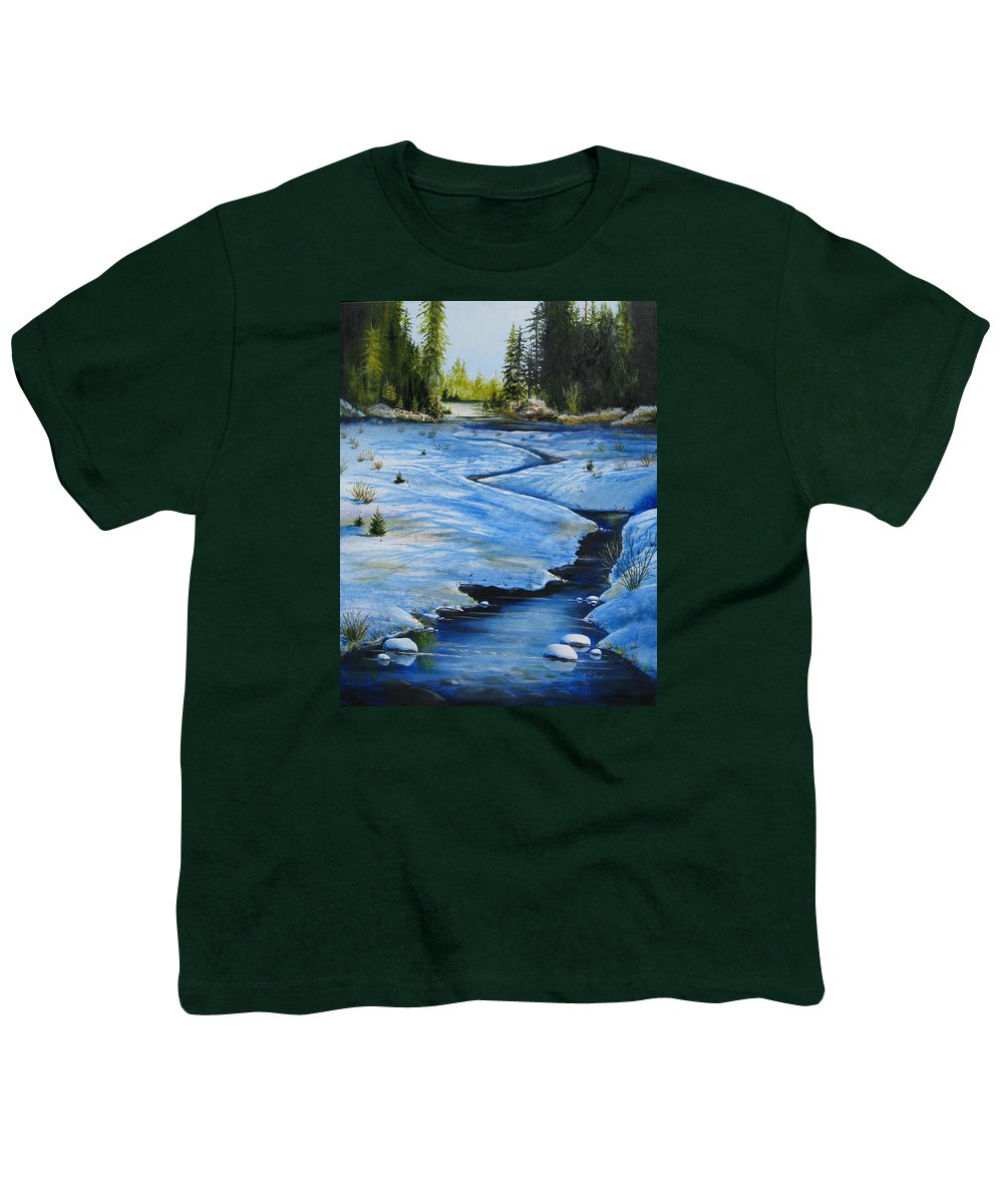 Landscape Youth T-Shirt featuring the painting High Country by Karen Stark