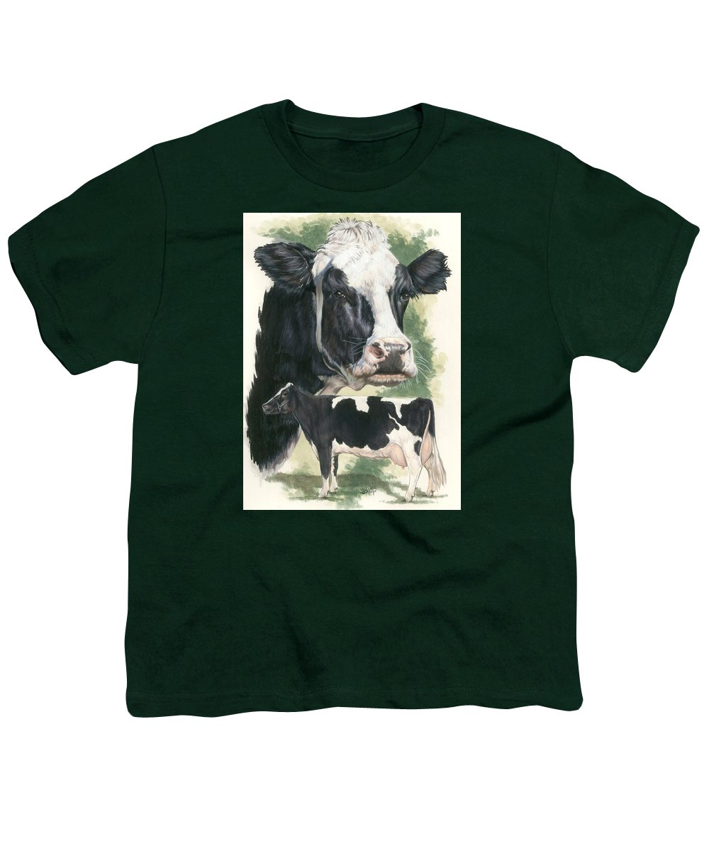Cow Youth T-Shirt featuring the mixed media Holstein by Barbara Keith