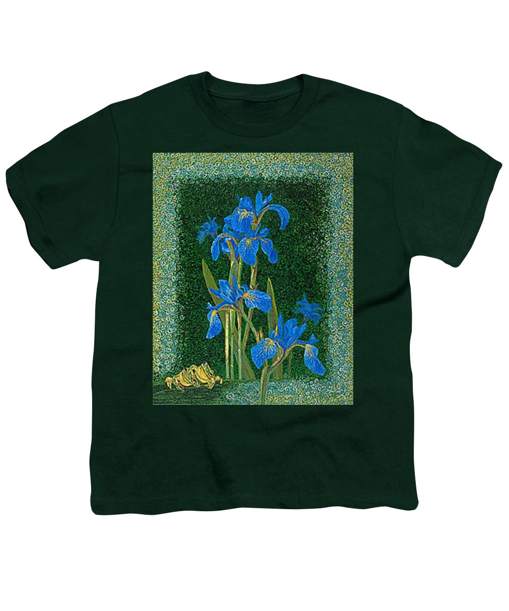 Irises Youth T-Shirt featuring the painting Irises Blue Flowers Lucky Love Frog Friends Fine Art Print Giclee High Quality Exceptional Colors by Baslee Troutman