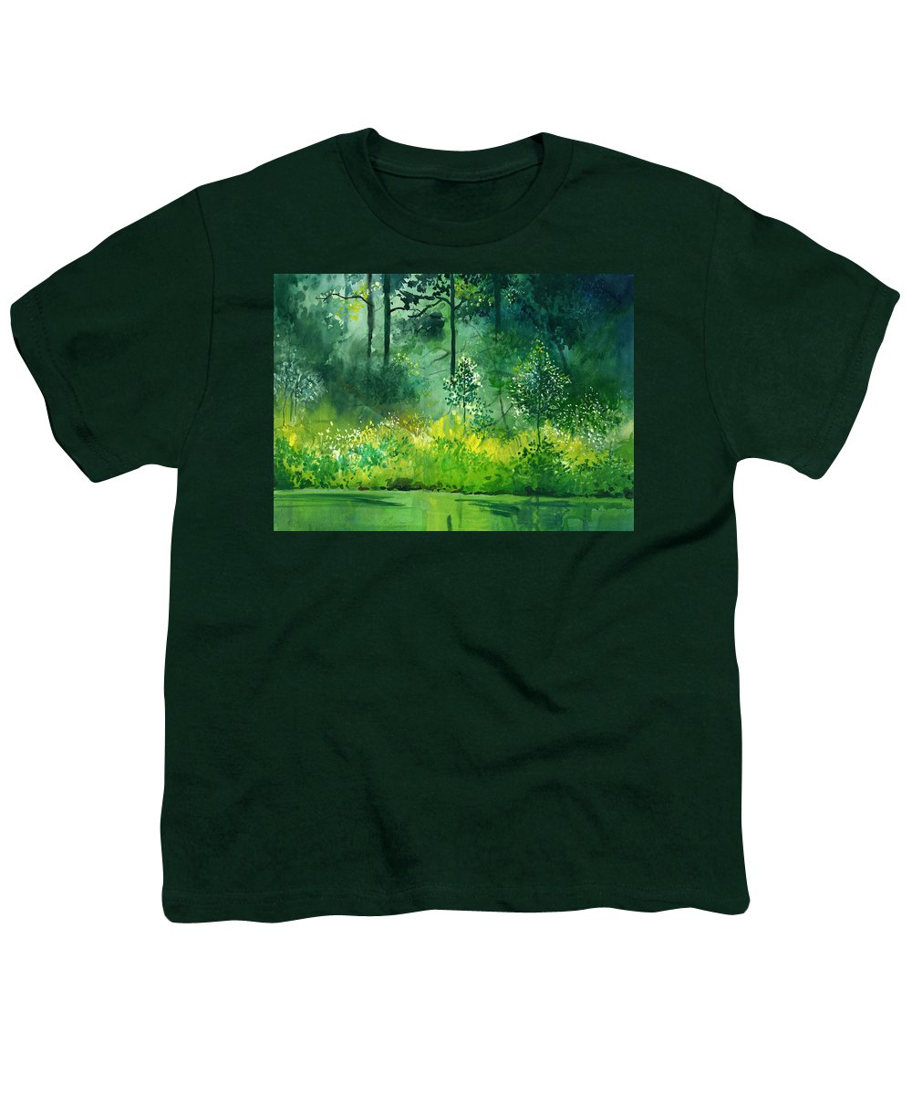 Water Youth T-Shirt featuring the painting Light N Greens by Anil Nene