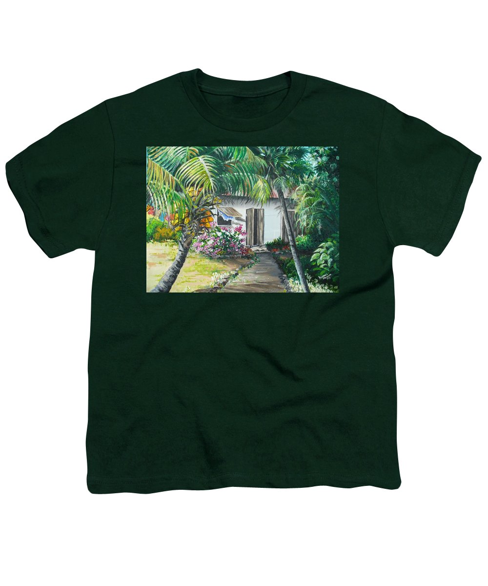 Caribbean Painting Typical Country House In Trinidad And The Islands With Coconut Tree Tropical Painting Youth T-Shirt featuring the painting Little West Indian House 2...sold by Karin Dawn Kelshall- Best