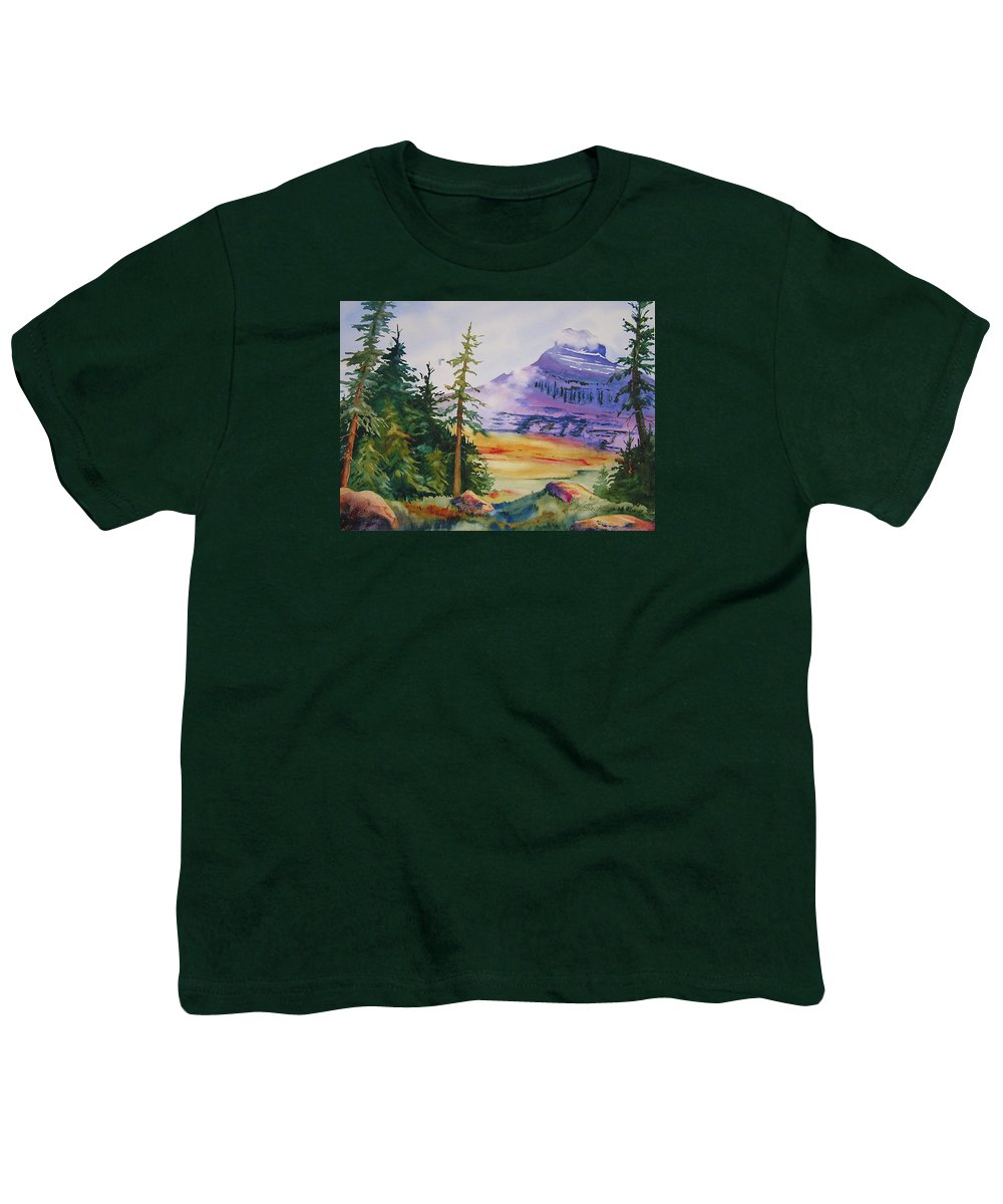 Landscape Youth T-Shirt featuring the painting Logan Pass by Karen Stark