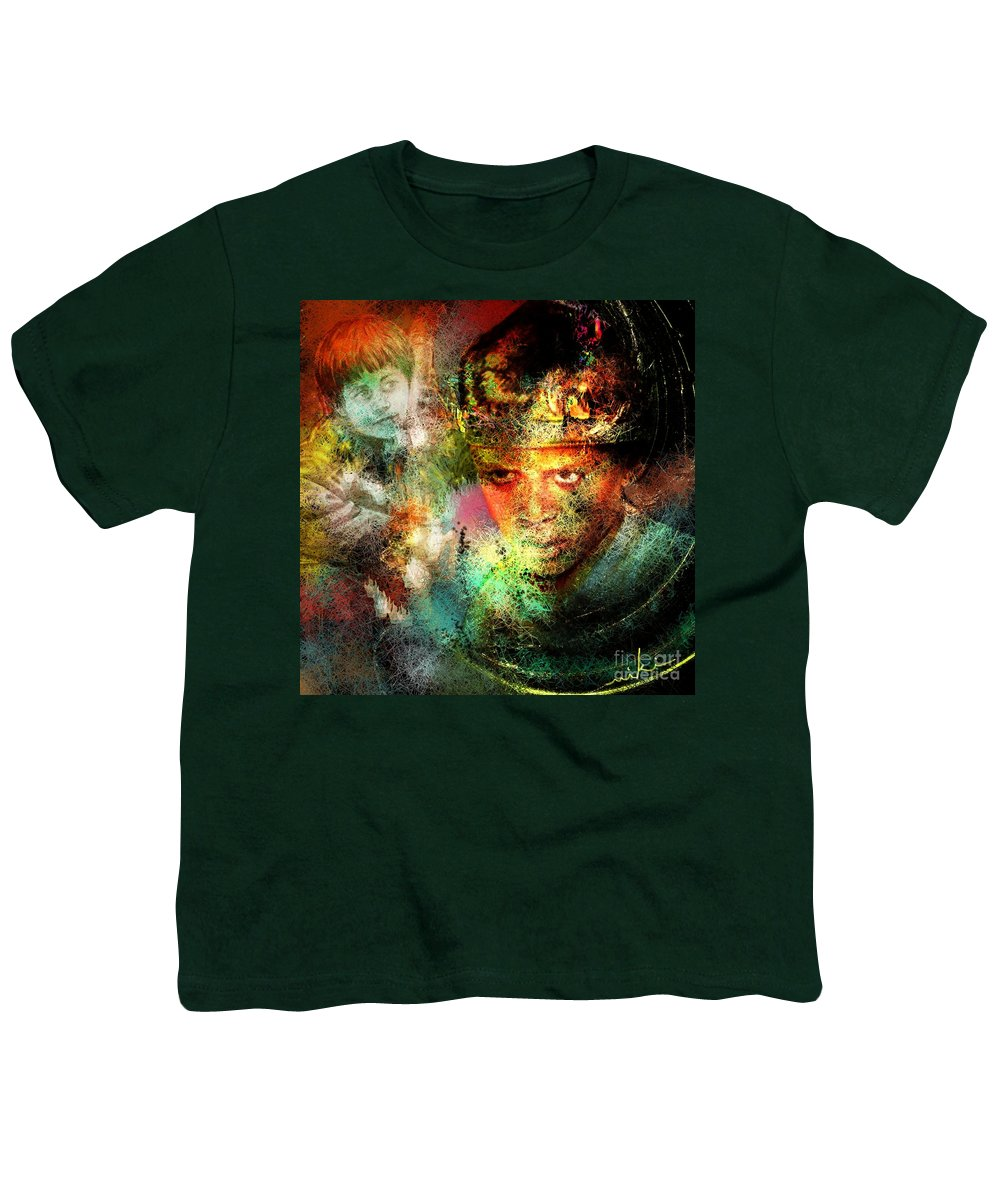 Portrait Youth T-Shirt featuring the painting Love For The Boy King by Miki De Goodaboom
