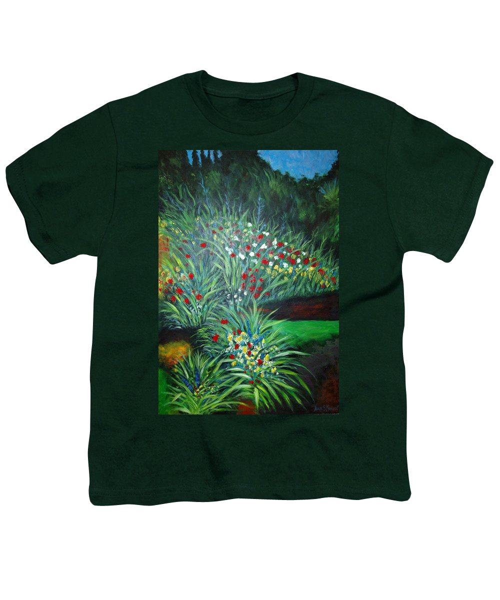 Landscape Youth T-Shirt featuring the painting Maryann's Garden 3 by Nancy Mueller