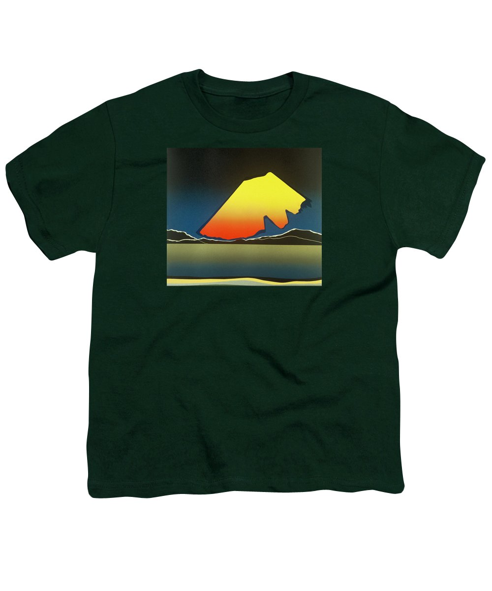 Landscape Youth T-Shirt featuring the mixed media Northern Light. by Jarle Rosseland