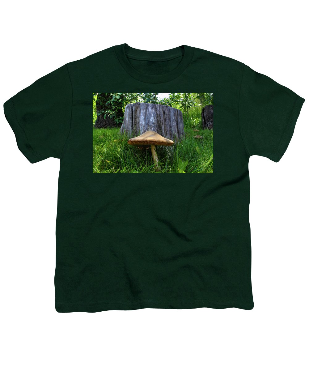 Mushroom Youth T-Shirt featuring the photograph Path of Mushrooms by Shane Bechler
