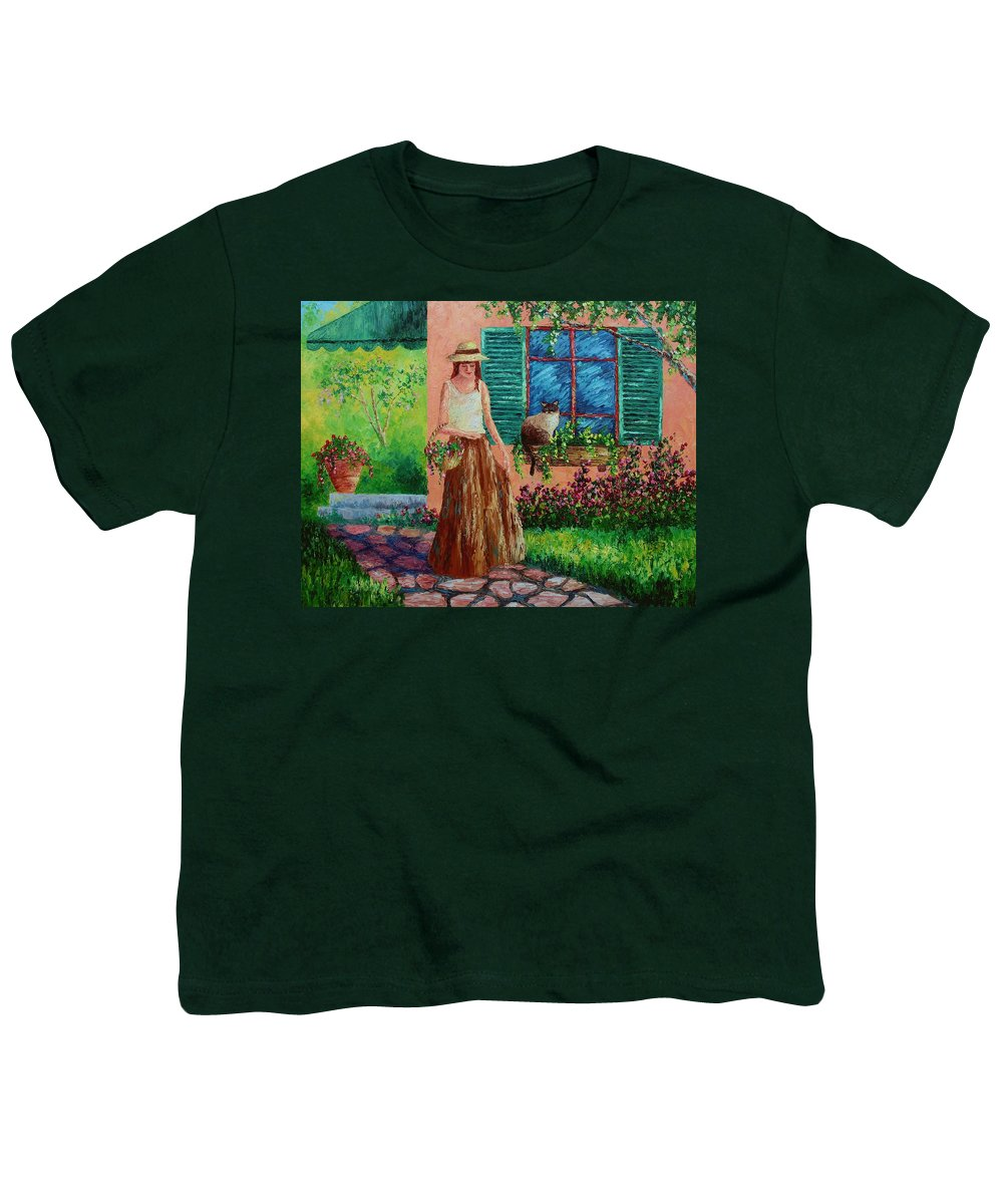 Woman Youth T-Shirt featuring the painting Peaceful Thoughts by David G Paul