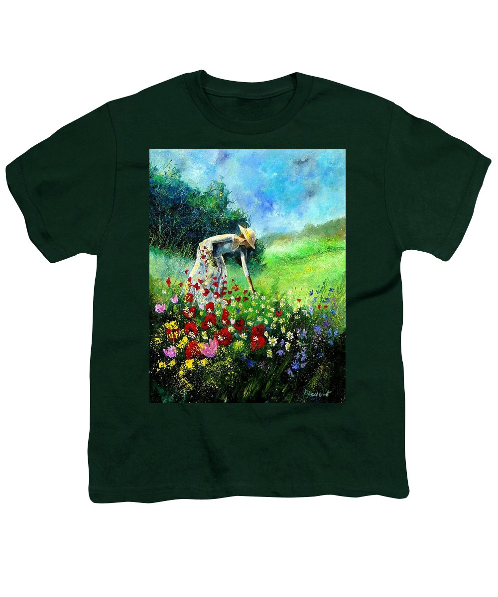Poppies Youth T-Shirt featuring the painting Picking Flower by Pol Ledent