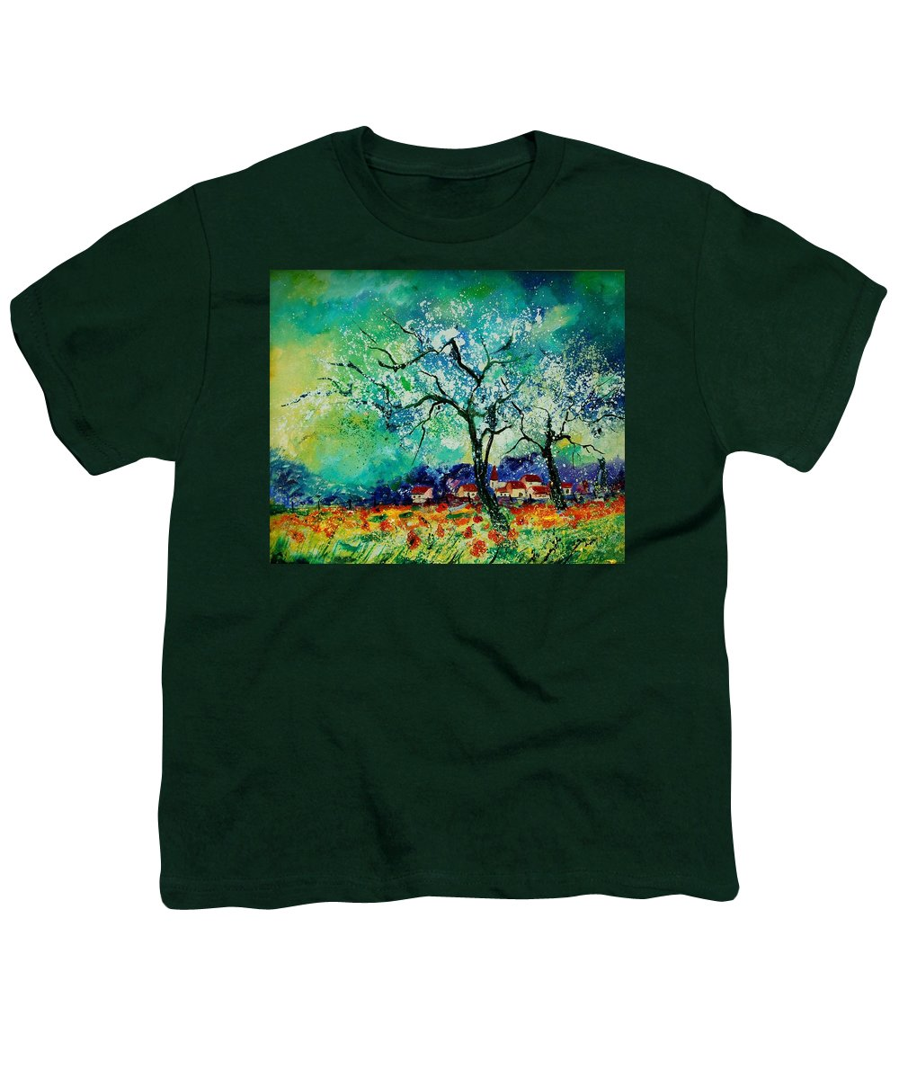 Landscape Youth T-Shirt featuring the painting Poppies And Appletrees In Blossom by Pol Ledent