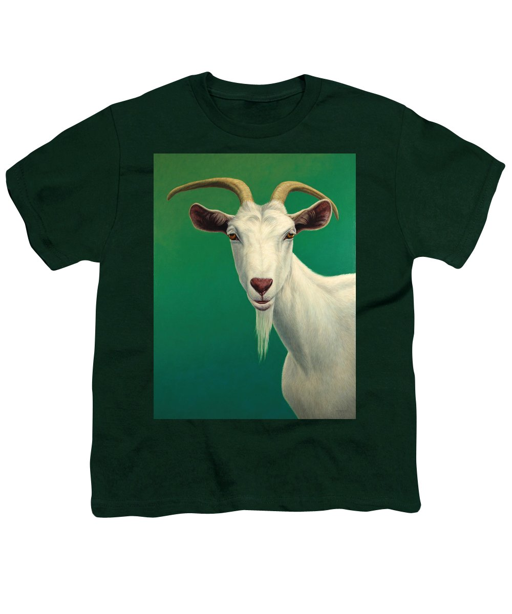 Goat Youth T-Shirt featuring the painting Portrait Of A Goat by James W Johnson
