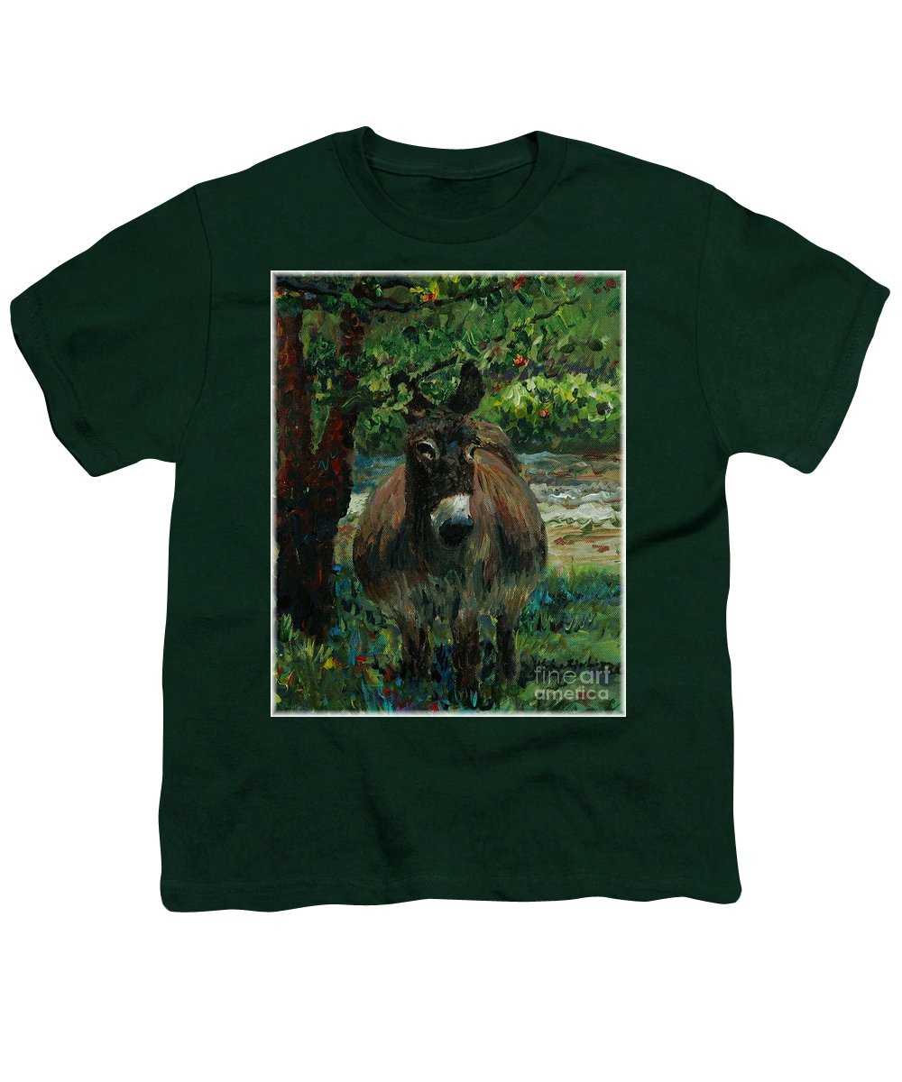 Donkey Youth T-Shirt featuring the painting Provence Donkey by Nadine Rippelmeyer