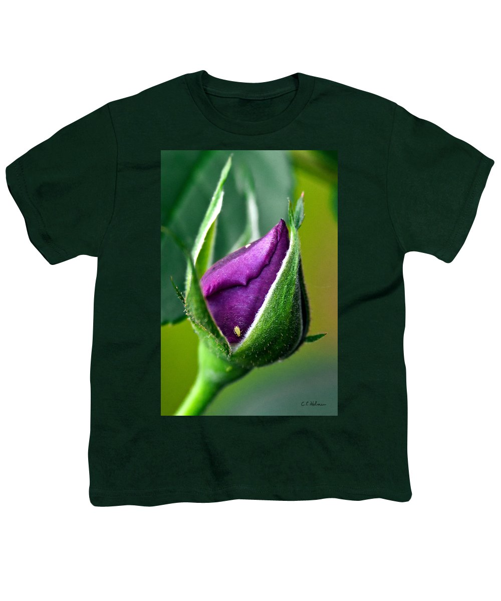 Rose Youth T-Shirt featuring the photograph Purple Rose Bud by Christopher Holmes
