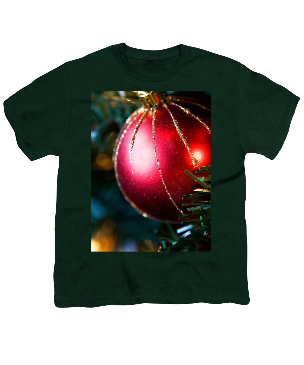 Red Youth T-Shirt featuring the photograph Red Shiny Ornament by Marilyn Hunt