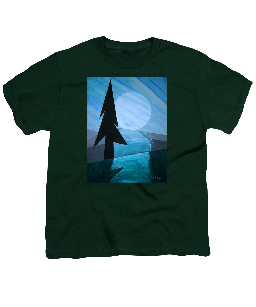 Phases Of The Moon Youth T-Shirt featuring the painting Reflections On The Day by J R Seymour