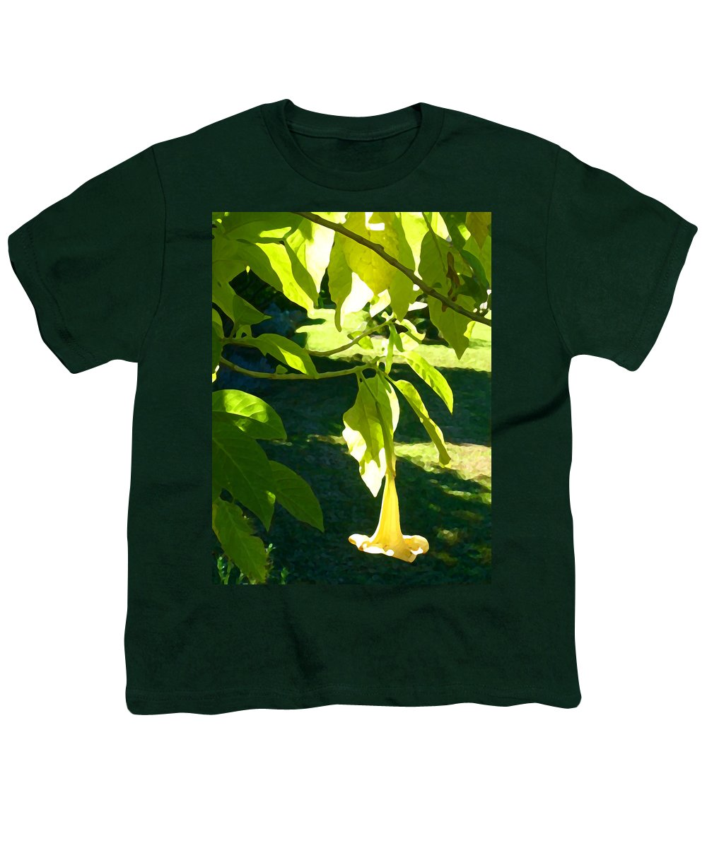 Spring Youth T-Shirt featuring the painting Single Angel's Trumpet by Amy Vangsgard