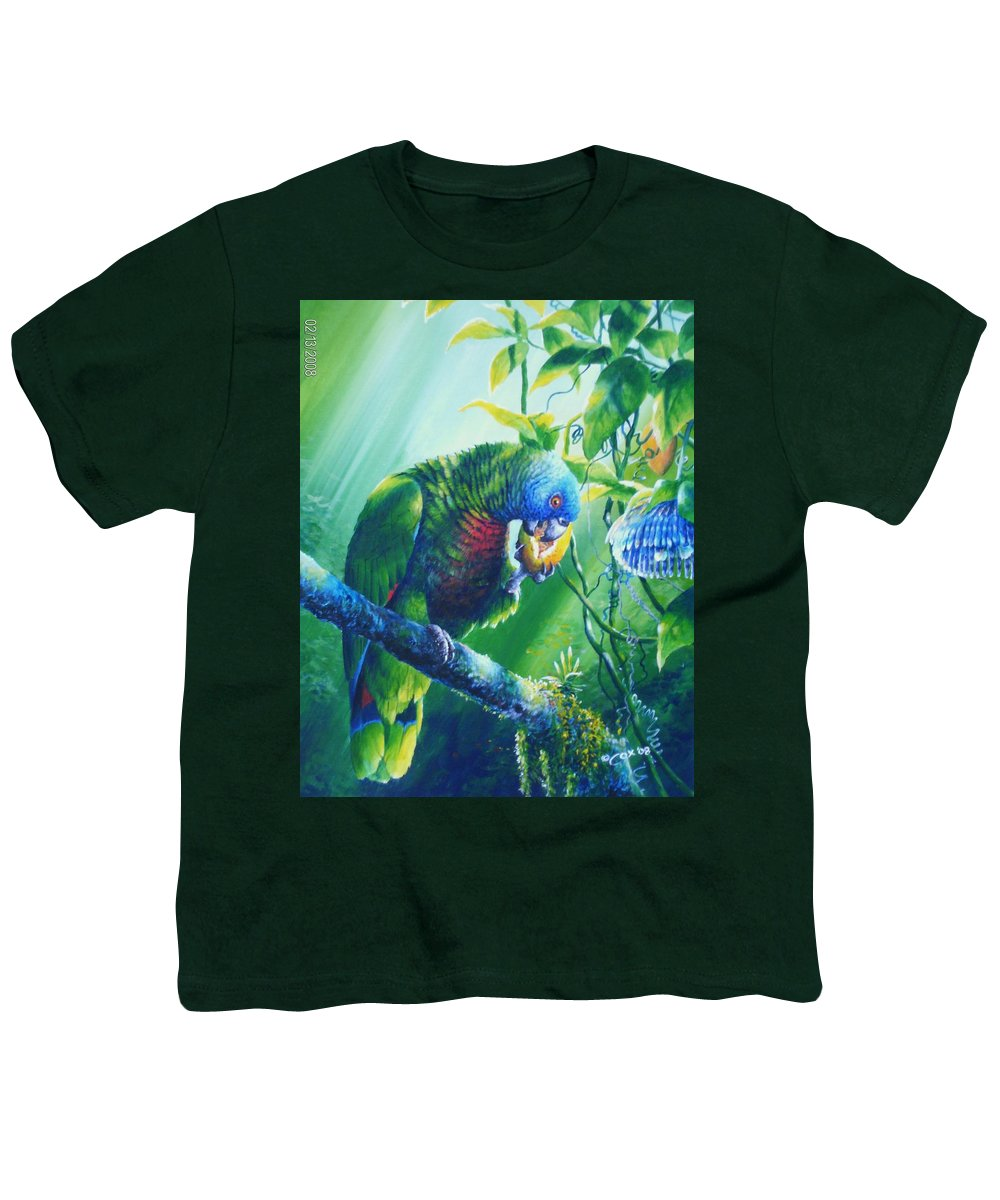 Chris Cox Youth T-Shirt featuring the painting St. Lucia Parrot And Wild Passionfruit by Christopher Cox
