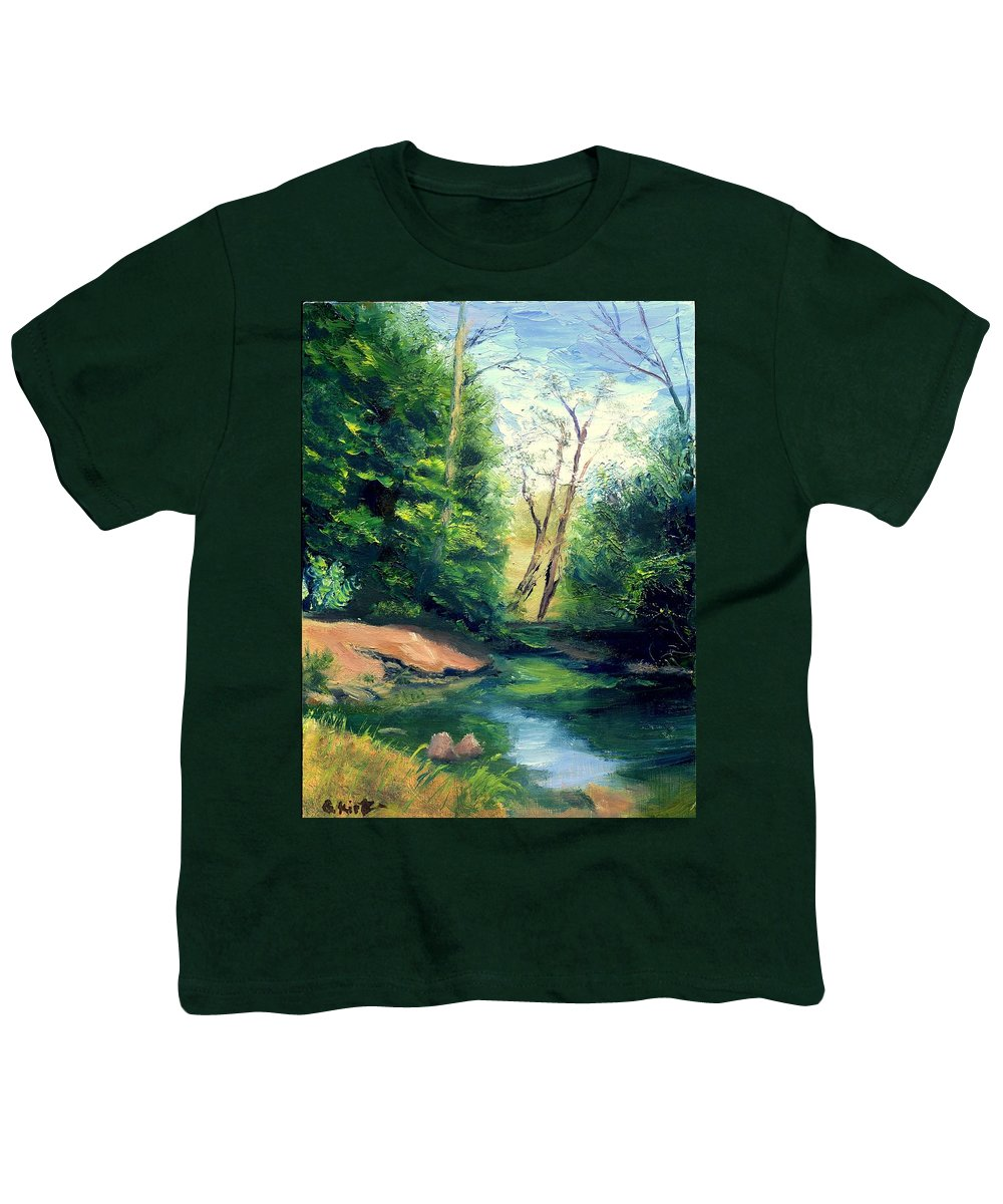 Landscape Youth T-Shirt featuring the painting Summer At Storm by Gail Kirtz
