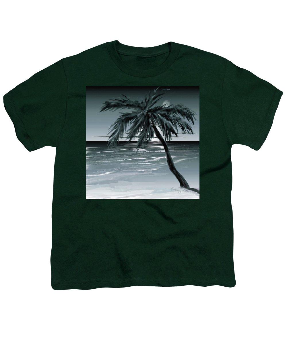 Water Beach Sea Ocean Palm Tree Summer Breeze Moonlight Sky Night Youth T-Shirt featuring the digital art Summer Night In Florida by Veronica Jackson