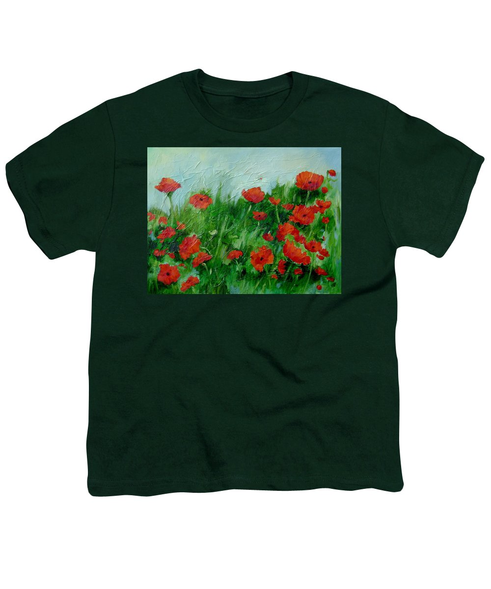 Red Poppies Youth T-Shirt featuring the painting Summer Poppies by Ginger Concepcion