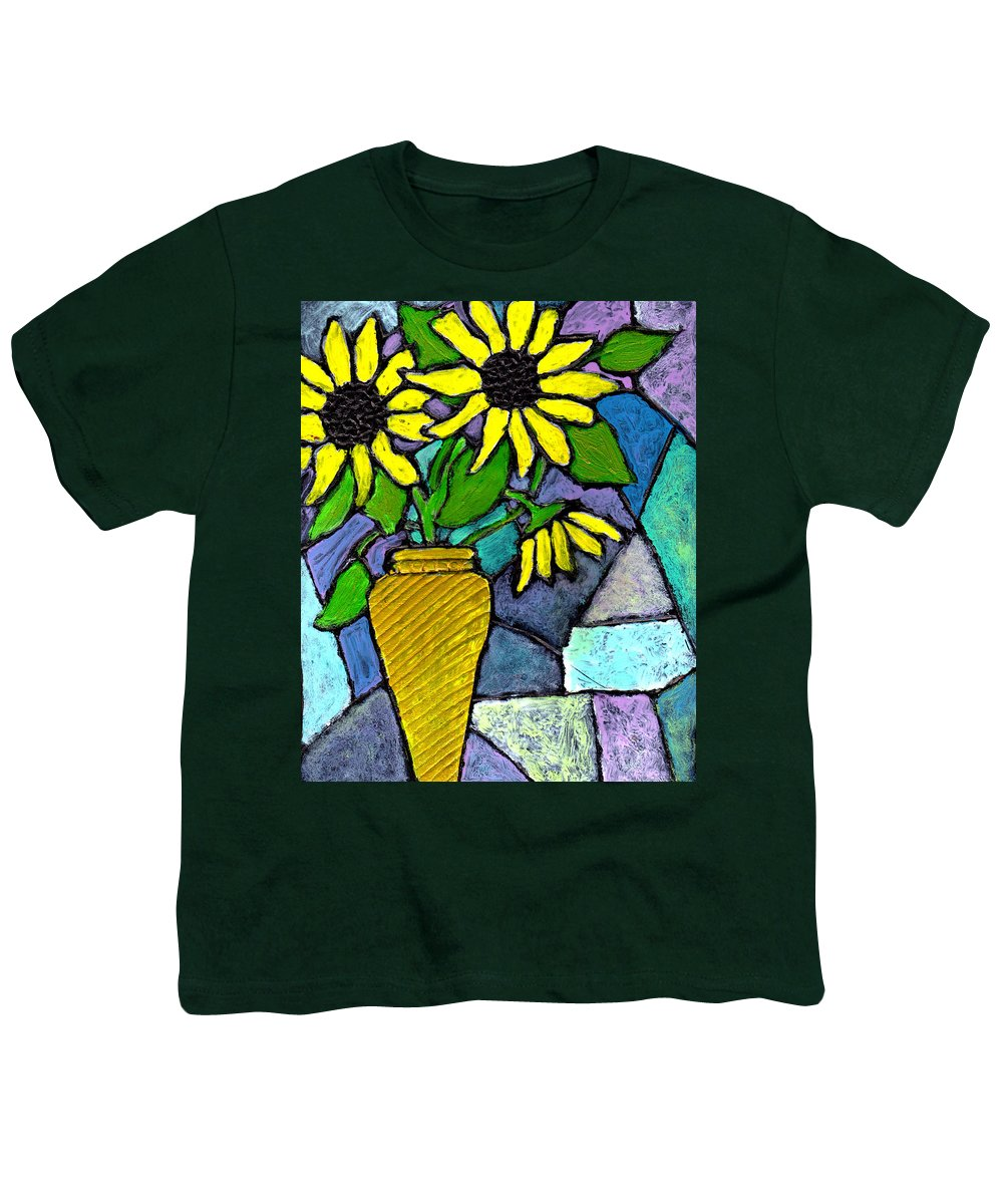 Flowers Youth T-Shirt featuring the painting Sunflowers In A Vase by Wayne Potrafka