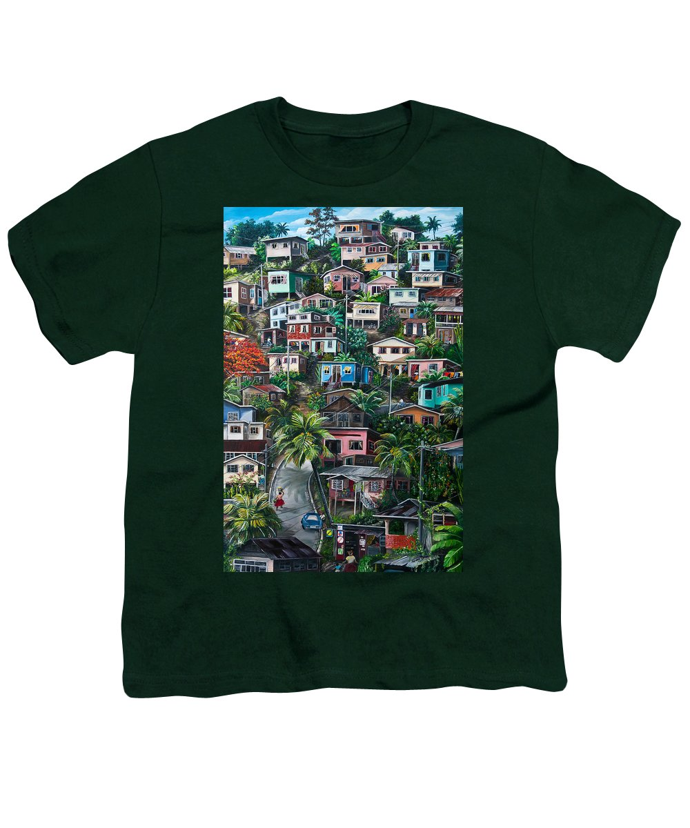 Landscape Painting Cityscape Painting Houses Painting Hill Painting Lavantille Port Of Spain Painting Trinidad And Tobago Painting Caribbean Painting Tropical Painting Caribbean Painting Original Painting Greeting Card Painting Youth T-Shirt featuring the painting The Hill   Trinidad by Karin Dawn Kelshall- Best