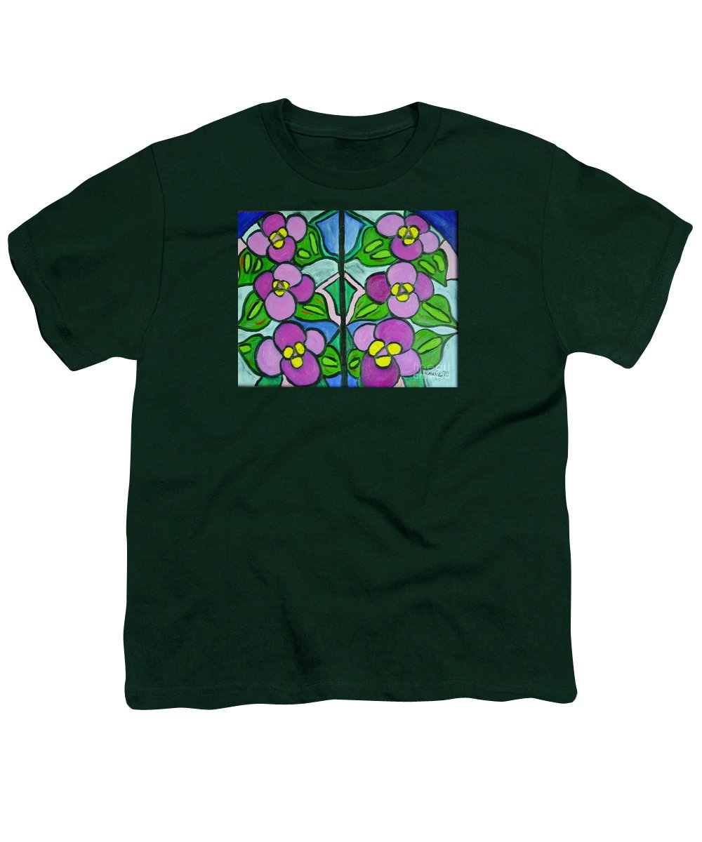 Violets Youth T-Shirt featuring the painting Vintage Violets by Laurie Morgan