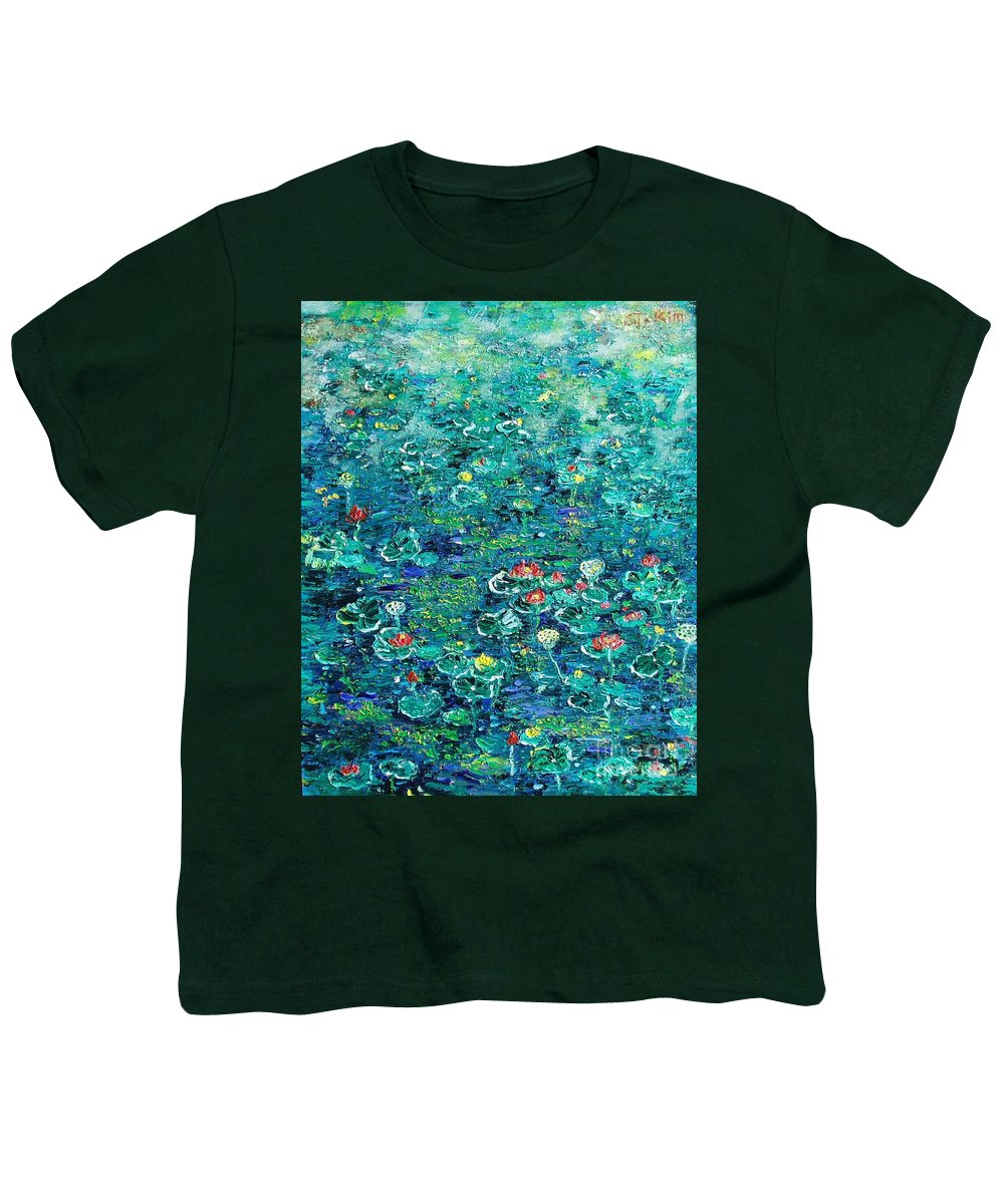 Water Lily Paintings Youth T-Shirt featuring the painting Water Lilies Lily Pad Lotus Water Lily Paintings by Seon-Jeong Kim