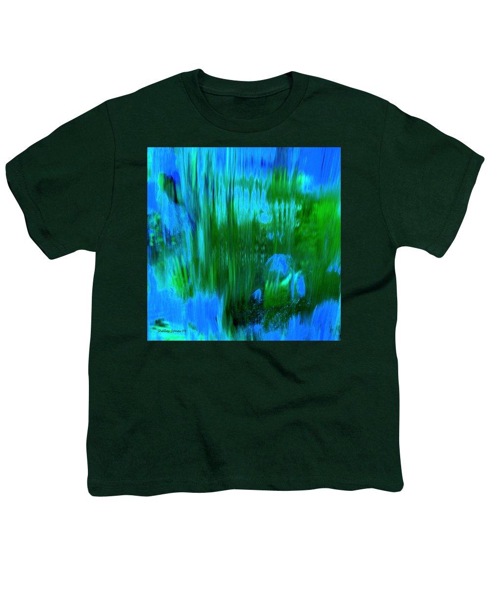 Digital Art Youth T-Shirt featuring the digital art Waterfall by Shelley Jones